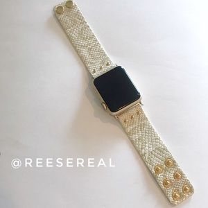 Cream & Gold Snakeskin Leather Strap Watch Band